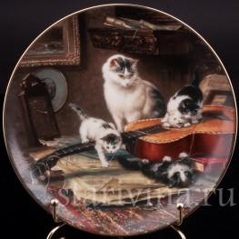 Декоративная фарфоровая тарелка Струнный квартет, W. J. George, Великобритания, 1991 г.